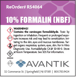 Reagent Label - 10% Formalin - Each