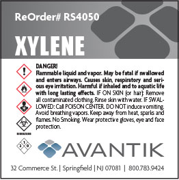 Reagent Label - Xylene - Each